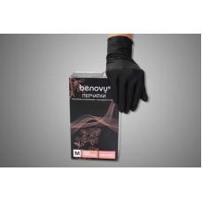 Перчатки виниловые Benovy (текстурированые на пальцах)