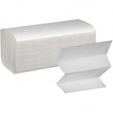 Полотенца листовые V-сложения однослойные 200 листов (белые, плотность 35 г/кв.м.)