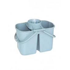Ведро пластиковое двойное 15л. с решеткой-отжимом для резьбовых мопов